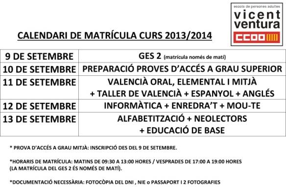 CALENDARI DE MATRÍCULA CURS 2013_14